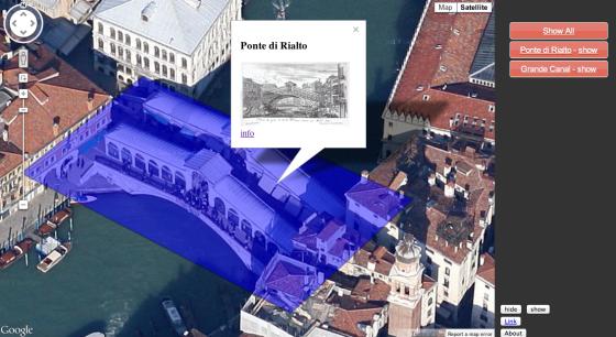 Ponte di Rialto using Google Maps and KML